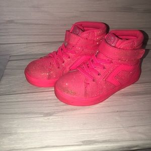Girls pink high top sneakers